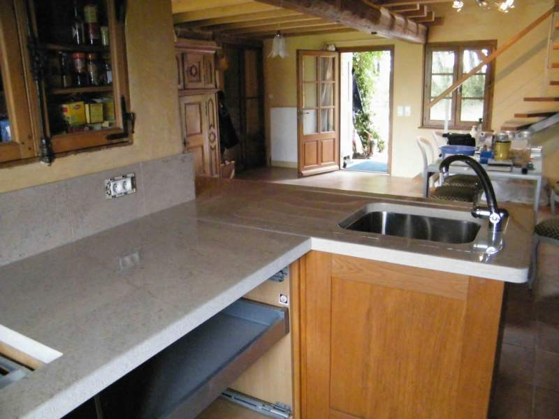 Cuisine Plan de travail en pierre vasque inox